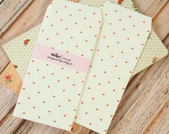 Tiny RED Hearts Tall Envelopes