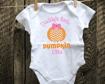 Personalized Daddy's Little Pumpkin Shirt or Bodysuit - Great for Fall, Halloween, or Thanksgiving!