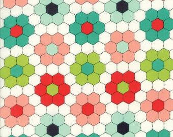 HANDMADE Bonnie & Camille 1/2 yd fabric Moda modern hexagons maker quilting sewing hexies flower garden aqua red half yard 55148-11