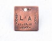 Rustic Wedding Keepsake Charm, Custom Brides Bouquet Charm in Antiqued Copper