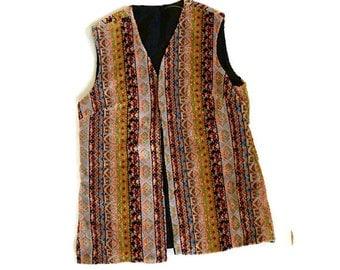 Vintage Carpet Vest, 1960s Boho Hippie Vest