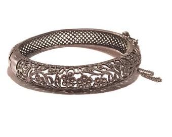 vintage silver Bracelet , marcasite hinged Bangle
