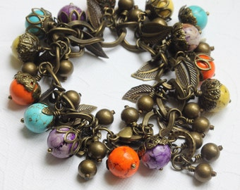 Gemstone Charm Bracelet, Howlite Stone Beads Bracelet,  Antique Brass Bracelet, Heavy Bracelet, Statement Bracelet