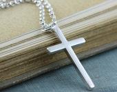 Sterling Silver Cross Necklace, Chain, Unisex, Women Men - 2.1mm Rolo Belcher Chain, Faith