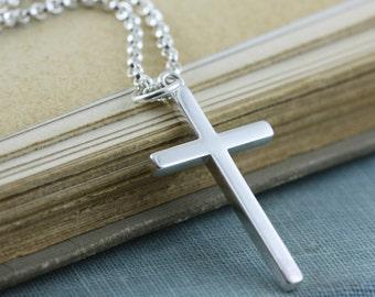 Sterling Silver Cross Necklace, Chain, Unisex, Women Men - 2.1mm Rolo Belcher Chain, Faith Gift For Husband Boyfriend Guy