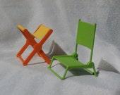 Vintage Barbie Folding Furniture, Mattel 1973 Green Chair, Folding Table