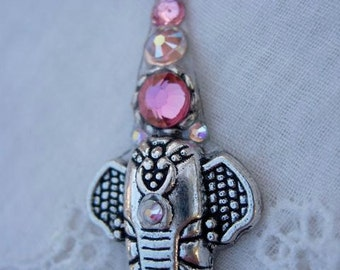 Pink Elephants On Parade Bindi - swarovski belly dance tribal fusion crystal bindi