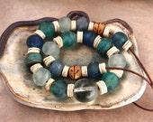 Chunky Blue Tribal Necklace with Teal Hebrons Creamy Ostrich Shell and Large Blue Glass Beads on Leather Boho Ethnic Tribal Jewelry
