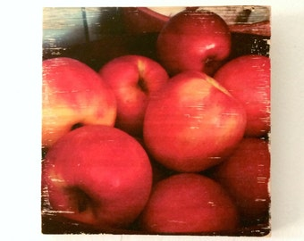 """Red Beauties - Fall Apples - 7""""x7"""" Square Distressed Photo Transfer on Wood"""