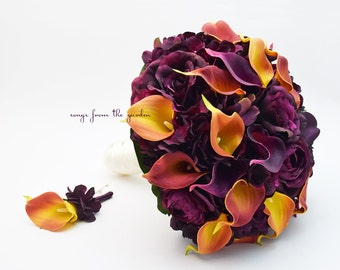Reserved - Plum Roses Plum Burnt Orange Calla Lilies Bridal Bouquet Groom's Boutonniere - Bridesmaids Bouquets - Corsages