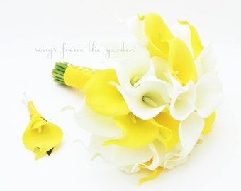 Yellow White Real Touch Calla Lily Bridal Bouquet Grooms Boutonniere Real Touch Silk Wedding Flower Calla Lily Bridal Bouquet Yellow White