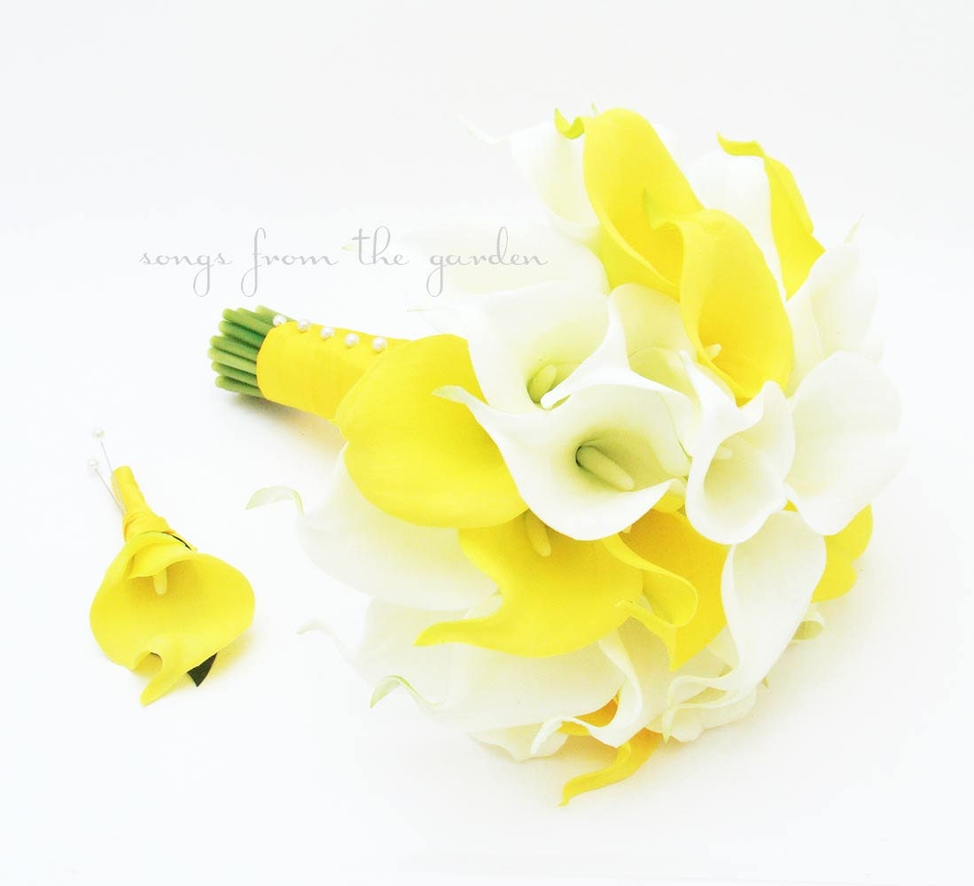 Ready to ship yellow white real touch calla lily bridal zoom dhlflorist Images
