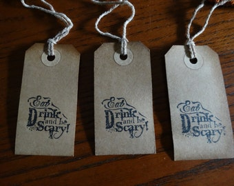 SET of 3 medium Primitive Halloween Eat, Drink and Be Scary Hang Tags