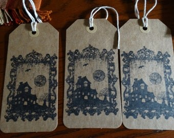 SET of 3 X Large Halloween Haunted House Hang Tags