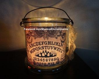 Large Halloween OUIJA with skulls  Lantern candle holder ...GOOD BYE