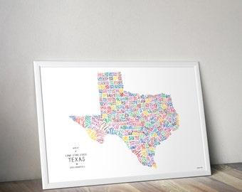 Texas Typography Calligraphy Map Lone Star Austin Dallas Houston Print