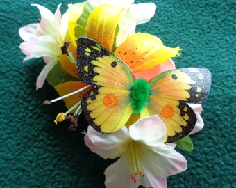 Handmade orange sulfer butterfly and floral hairclip