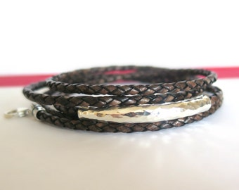 Vintage Brown Leather Triple Wrap Bracelet with Karen Hill Tribe Silver / Boho Leather Wrap Bracelet/ Bohemian Jewelry / Leather Bangle