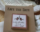 Wedding Favor Wood Magnets-50 Custom Save the date  with cards