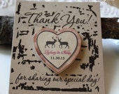 Set Magnets with cards Save the date Wedding Favor Wood Magnets  personalized made to order Deer in love   50 pkg pick your card