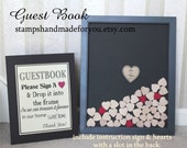 Wedding guest book drop box with wood hearts alternative wedding guestbook with card included