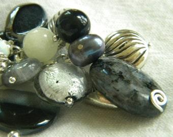 Elegant Black and White and Cream Purse Charm