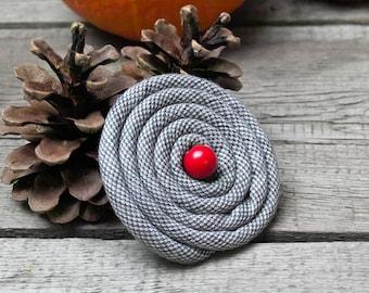 Flower Pin BROOCH Petal Flower Pin, Linen flower brooch, grey pin brooch