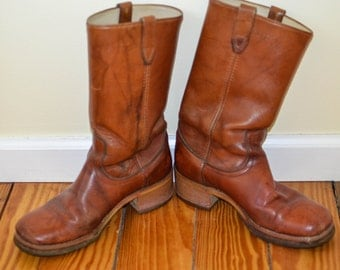 Vintage Campus Style Men's Boots, Caramel Leather Dingo Boots, Men's Vintage Shoes