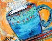 "Original oil painting Coffee ""Cafe au lait"" palette knife impressionism on canvas fine art by Karen Tarlton"