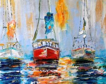 Original oil painting Harbor Boats Sunrise palette knife impressionism on canvas fine art by Karen Tarlton