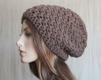Slouchy Hat Womens  Slouchy Beanie  Crochet Winter Hat in Taupe Winter Fashion Accessory