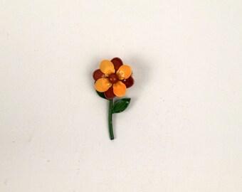 Vintage Gold and Brown Metal Flower Brooch