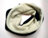 SALE Cozy Cashmere Cowl /  Scarf ~ light green and black argyle ~ made from recycled cashmere sweaters ~ cashmere lined, reversible.