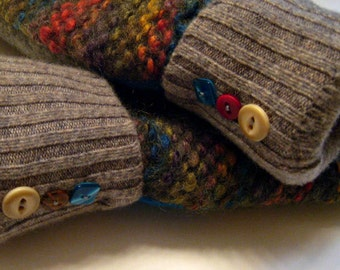 Sweater mittens, colorful, buttons, rainbow tweed, recycled sweaters, women's mittens, fleece lined mittens, etsy sweater mittens
