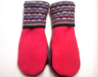 Sale Pink, Purple and Green Wool Mittens made from recycled sweaters; lined with soft fleece. Ladies Medium.