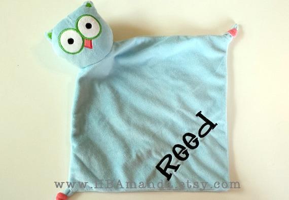 Blue Owl Minky Blanket - Blue Monogrammed Owl Blankie - Monogram Baby Gift - Security Blanket - Cubbie Blanket