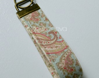 Ready to Ship Vintage Floral Soft Pink Pale Blue Roses Key Fob Wristlet Chain Antique Brass