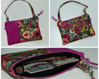 Suede Phone Case with Wristlet Wallet iPhone 6 - Optional Shoulder Strap -  Magenta Black Pink Purple or Teal Floral Made to Order