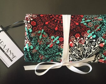 Red, White, and Aqua Travel Jewelry Clutch