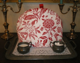 Tea Cozy, English Style, Red and White Floral, Warmer, Insulator
