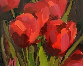 Red Tulips no. 10 original floral oil painting by Angela Moulton 6 x 6 inch on birch plywood panel pre-order