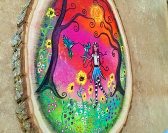 Magic in the Meadow Acrylic on Wood Slice Original 10 x 12
