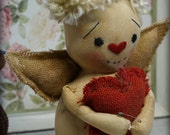 Primitive Folk Art Valentine  DoLL Cupid  w/ hearts ornament Cute OOAK Romantic gift Angel
