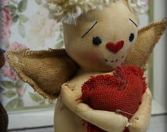 Primitive Folk Art Valentine  DoLL Cupid  w/ hearts ornament Cute OOAK Romantic gift Angel
