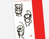 Happy New Year 2016 of the Monkey Card, Chinese New Year, Chinese Zodiac, three monkeys, speak no, hear no , see no evil, lucky red envelope