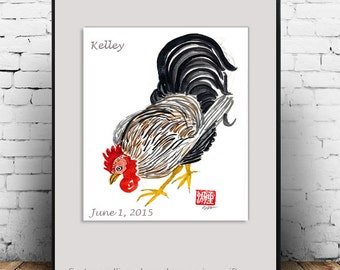 Chinese Zodiac Year of the Rooster Original Zen Sumi ink and watercolor Brush Painting for zen decor, childs room art, zen illustraiton