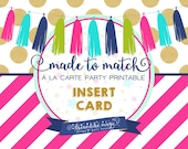 Made to Match Party Printable- Insert Card