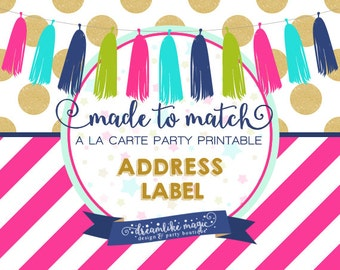 Made to Match Party Printable- Address Label Design