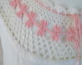 Antique Crochet Cotton Petticoat Gown Pink and White 1930s Era