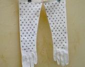 1950s NOS Rhinestone Gloves Hand Stitched White Gloves